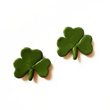 Shamrock Magnets - Irish Magnets - Polymer Clay Magnets - St Patricks Day Magnets - Refridgerator Magnets - Kitchen Magnets - Green Magnets