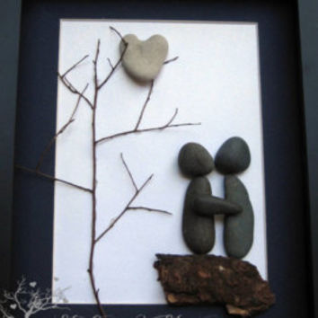 Unique Couple and Dogs Gift- Personalized COUPLE'S Gift- SticksnStone Designs- Couple and Pets Gift -  Pebble Art - Mixed Media