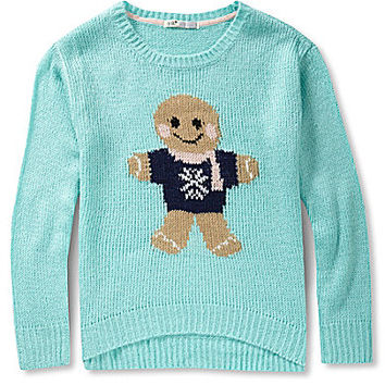 Jolt Gingerbread Man Christmas Critter Sweater - Turquoise/Aqua