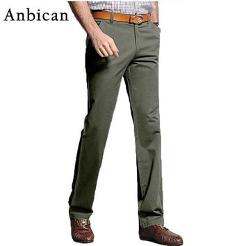 Anbican Brand 2017 Autumn Winter Casual Pants Men Slim Fit Cotton Chino Trousers Male Straight Long Dress Pants Big Size 29-40