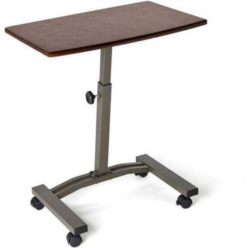Mobile Laptop Desk Table Cart Maschine Adjustable Height Tilt Wheels Bed Sofa
