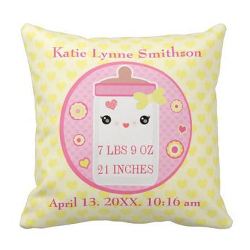 Custom Birth Announcement Girl Baby Throw Pillow