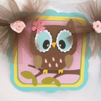 Owl name banner, birthday banner, photo prop