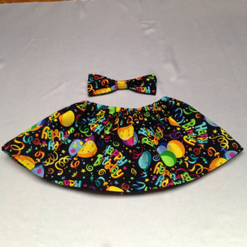 Baby Girl Black Birthday skirt with Happy Birthday and Balloons Little girl Skirt, Childs Skirt, NicolasSewing, Free Bow with Skirt.
