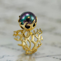 REEF Engagement Ring,Statement Ring, Gold pearl Ring, Gold Engagement Ring, Large pearl Ring ,pearl promise Ring,unique pearl ring,ring
