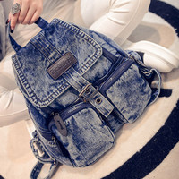 Fashion Women Denim Backpacks Vintage Washing Girls School Bags Jean