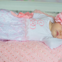 Coming Home Outfit, Take Home Outfit, Going Home Outfit, Baby Layette, Newborn Nightgown, Newborn Dress, Baby Headband, Baby Shower Gift