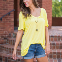 Easy To Tee Piko Top, Yellow