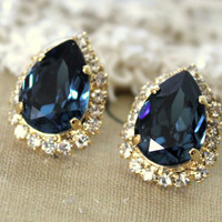 Blue denim Crystal big teardrop stud earring - 14k plated gold post earrings real swarovski rhinestones .