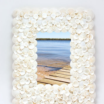 Beach Decor -  Small White Shell Mirror and  Picture Frame