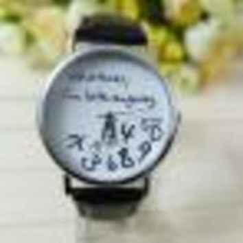 "Women's Watch Leather Watch ""Whatever I am Late Anyway"" Letters"