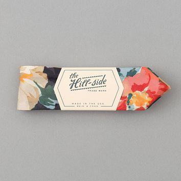 Lightweight Watercolor Floral Print Bow Tie, Navy