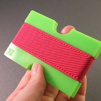 Women wallet, GREEN with PINK Elastic Band