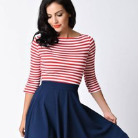 Banned Retro Red & White Stripe Three-Quarter Sleeve Modern Love Top