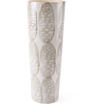 Ivory & Sage Green Feather Vase, Tall