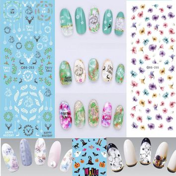 Mixed Decals Water Transfer Nails Art DIY Design Colors Manicure Flowers Nail Sliders Stickers Wraps Foil Sticker Accessories