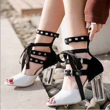 Clear Chunky Heel Lace Up Peep Toe Sandals