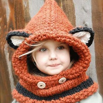 Fox Hat Girls Hat Fox Hoodie Flint Fox Cow Animal Hat Hooded Scarf Chunky Crochet Hat