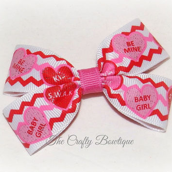 Conversation Hearts ~ Small Boutique Hair Bow ~ Red, Hot Pink and White ~ Valentine Hair Bow ~ Chevron ~ Clippie Hair Bow ~ Baby Hair Bow