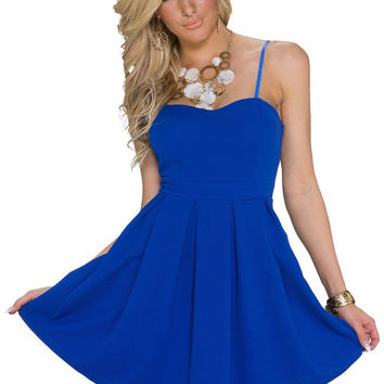 Blue Spaghetti Strap High Waist A-Line Mini Skater Dress