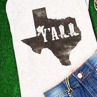 TEXAS Y'ALL TANK IN HEATHER GREY
