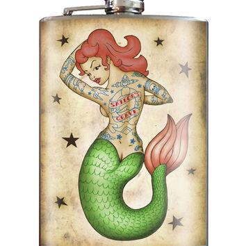 Trixie and Milo Tattooed Mermaid 8 oz. Stainless Steel Flask