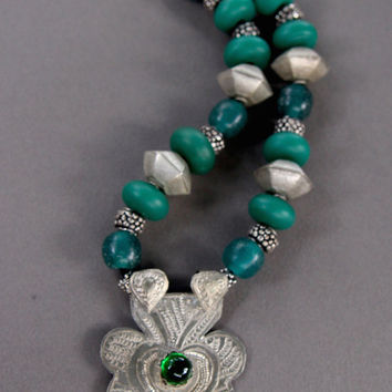 Vintage Ethnic Pendant Necklace Large Primitive Silver Pendant w Vintage Green Glass and African Silver Beads Boho Ethnic Jewelry