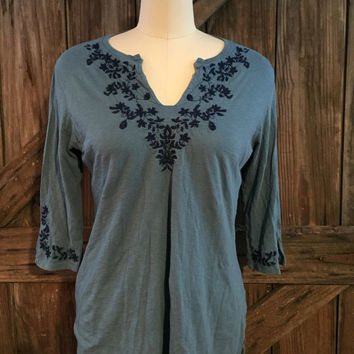 Lucky Brand 3/4 Sleeve Embroidered Top Sz Large
