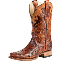 Women's Corral Dark Chedron Black Handtooled Cowgirl Boots