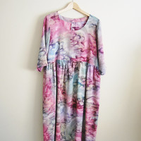 The Bohemian - Vintage Tye Dye Oversized Mid Length Summer Dress