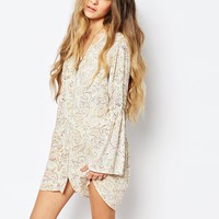 Billabong Button Through Festival Tea Dress With Bell Sleeves In Floral Print
