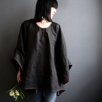 Black Linen Tunic - iheartfink Handmade Beautiful Solid Black Kimono Bell Sleeves Modern Bohemian Linen Tunic Top