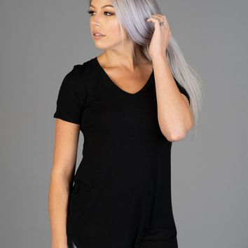 Must Have Basic V Neck Tee in Black