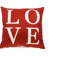 Love Script Holiday Red Cranberry Chevron Lumbar Decorative Cushion Cover Set