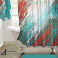 Abstract Shower curtain, Teal aqua coral gray Home decor, Designer bath decor, Beautiful Bathroom decor Fabric artistic Artisan Upscale