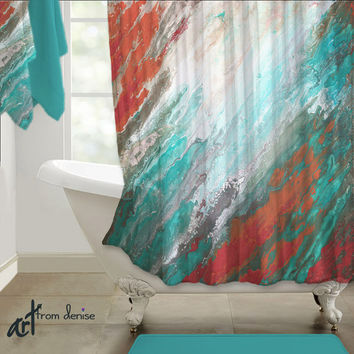 Abstract Shower Curtain Teal Aqua Coral Gray Home Decor Designer Bath Beautiful
