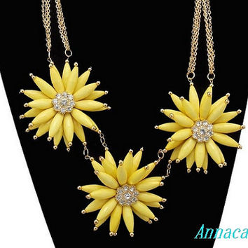 Yellow Flower Necklace,Cluster Necklace, Handmade Bib Necklace, Statement Necklace, Smooth Bubble Necklace