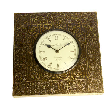 Aakashi Hand-Carved Brass Square Wall Clock