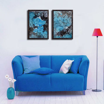 Blue Black Original Abstract 2 Piece Painting,  Diptych Contemporary Wall Art, Watercolor Landscape, Modern Home & Wall decor