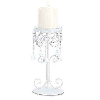 Wedding: White Iron Beaded Candle Holder