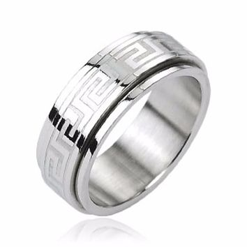 Tribe Maze Center Spinner Ring 316L Stainless Steel
