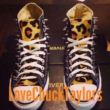 DCCK1IN custom spiked leopard fur converse chuck taylor all stars