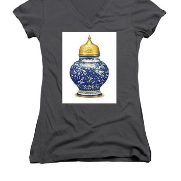 An Ottoman Iznik Style Floral Design Pottery Polychrome, By Adam Asar, No 9a - Women's V-Neck T-Shirt