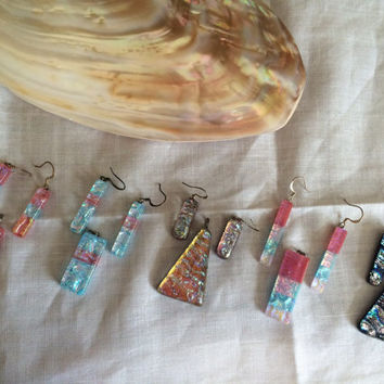 Hawaiian lampwork colorful glass set earrings pendant hand made original design Hawaiian glass beads set excellent Mother's Day Easter gift
