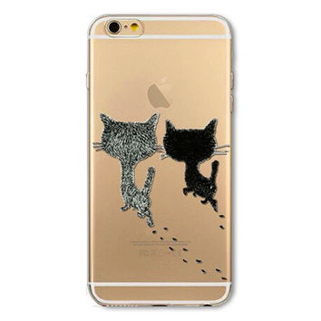 Soft TPU Silicon Transparent Phone Case for Apple iPhone 6 6S Painted Cat deer peacock elephant owl Case Cover for iPhone 6s