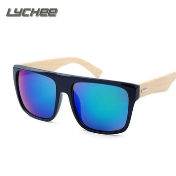 LYCHEE New 2016 Bamboo Sunglasses Men Wooden Sunglasses Brand Designer Mirror Original Wood Sun Glasses Oculos de sol