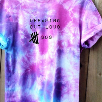 "5SOS Tie Dye Shirt heat press script ""dreaming out lout"" perfect for concert Tour"