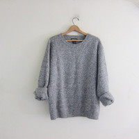 vintage speckled gray sweater. wool knit pullover. basic sweater.