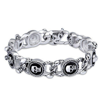 Skull Vintage Men's Biker Stainless Steel Bracelet 220mm