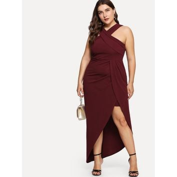 Plus Cross Halter Neck Wrap Dress Burgundy